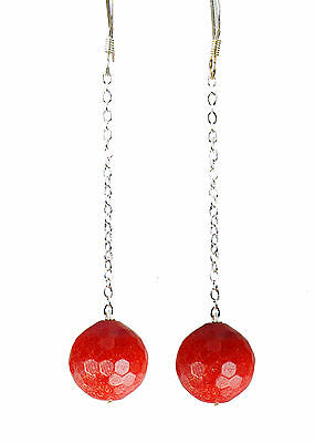 Glamorous Earrings in Red sponge coral faceted Round on long Chain