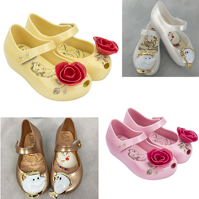 Melissa Beauty And The Beast Girl Kids Princess sandals Pearl Ballet Jelly Shoes