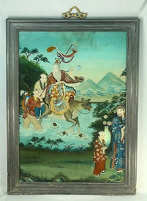 ! Antique 1800's Chinese FINE Reverse Glass Painting Horseback Nobleman
