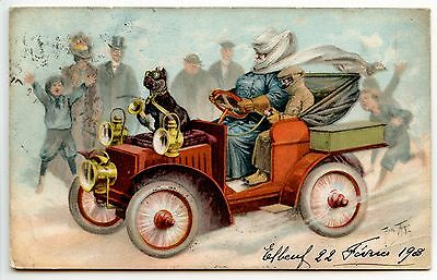 Illustrateur Arthur Thiele . Chien Dog Hund . Voiture Automobile Car . 1908