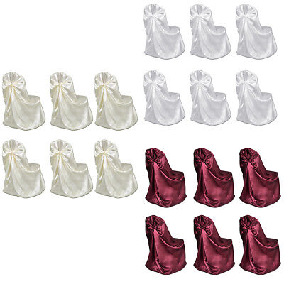 6pcs White/Cream Chair Seat Cover Washable Slipcover Wedding Banquet Party