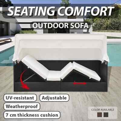 Outdoor Black/Brown Rattan Sun Day Bed Wicker Lounger Pool Garden Canopy Shade