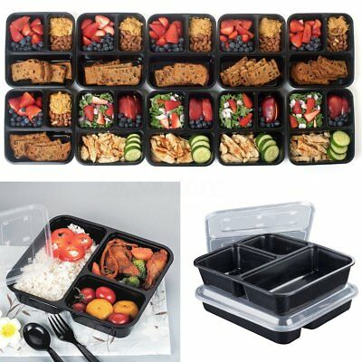 50 Pack 3 Compartments Prep Meal Food Storage Container Lids Lunch Box Stackable