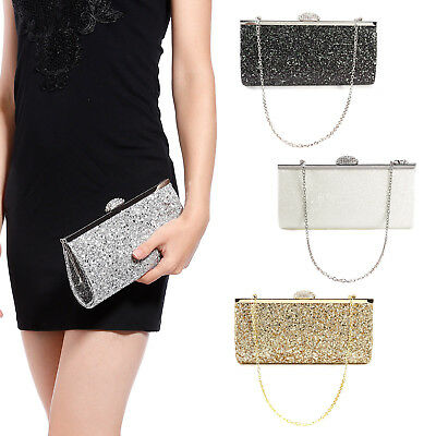 Womens Ladies Shimmer Glitz Glitter Bridal Party Evening Prom Clutch Bag