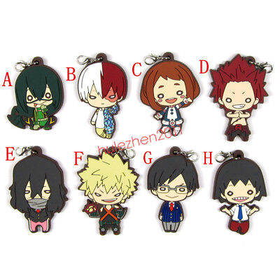 Anime Boku no Hero Academia Izuku Shoto Keychain rubber Key Ring Cosplay New