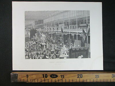 1861 Crystal Palace Exhibition London Esposizione Londra Antica Stampa D383