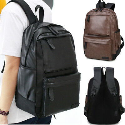 Fashion Men Women Leather Black Backpack Satchel Rucksack Shoulder School Bag UK