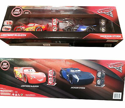 2 Pack - Disney Cars 3 Die Cast Cars Lightning Mcqueen Jackson Storm 1:24 Scale