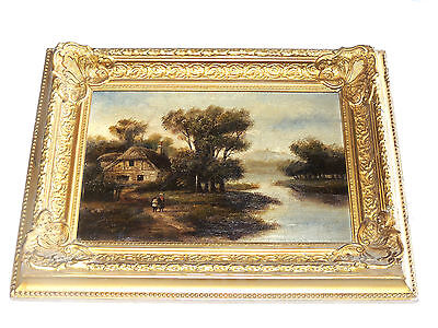 Rare Antique 18-19th century Mystery Painting of a Barn Oil on Canvas Signed.