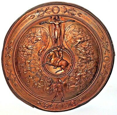 VERY RARE 19th Century Antique Fine Round Bronze Relief Plaque of British Wars