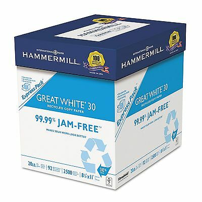 Hammermill Great White Recycled Copy Paper 92 Brightness 20lb 8-1/2x11 2500 Shts