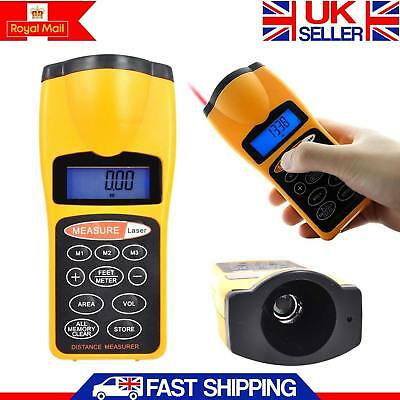 Ultrasonic Laser Distance Meter Digital Range Finder Measure Tape Diastimeter UK