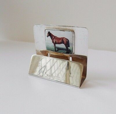 Antique Silver & Enamel Thoroughbred Horse Name Place Card Holder Hallmarked