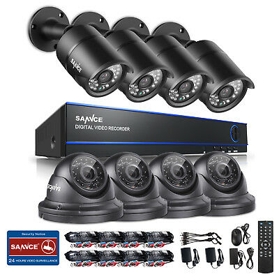 SANNCE 1080P Kit 4x Bullet 4xDome Security Cameras System 8CH CCTV DVR Email APP