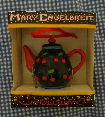 Mary Engelbreit Cherries Miniature Teapot Collection Ornament Free Ship!