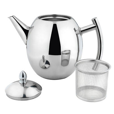 1L Stainless Steel Teapot Tea Pot Coffee Kettle With Tea Leaf Filter Infuser