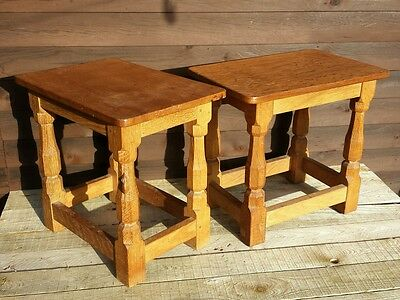 Original Robert Thompson Mouseman stools  Antique Arts & Crafts Oak Stools