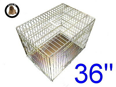 """Ellie-Bo 36"""" Large Dog Puppy Pet Cage Folding Carrier Crate In Gold"""