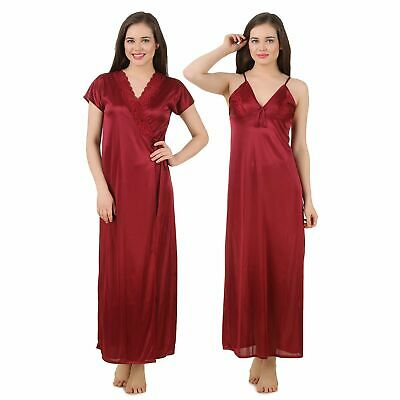 Women Satin Nightwear Sleepwear 2 PCs Set Ladies Nightdress Nighty Robe
