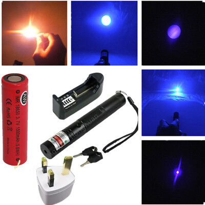 303 purple Laser Pointer Pen High Power Adjustable Focus Burning 532nm 1mw UK
