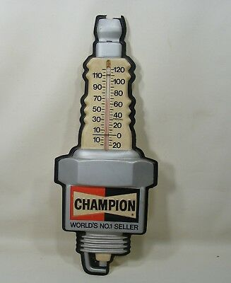Vintage Original CHAMPION Spark Plug Molded Plastic Thermometer Sign