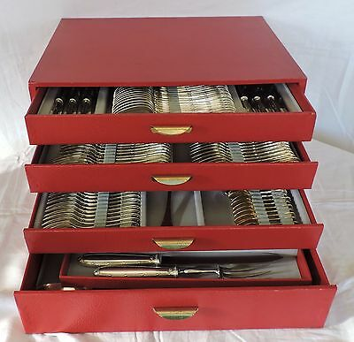 Cutlery Set Silver Metal Model Ribbons Christofle In Case 170 Pieces