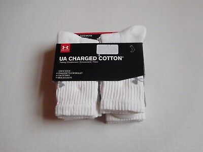 NWT 6 Pairs Boys Under Armour Charged Cotton Crew Socks sz YLG