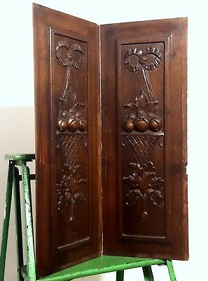 Carved Wood Panel Matched Pair Antique French Bow Fruit Basket Salvaged Carving