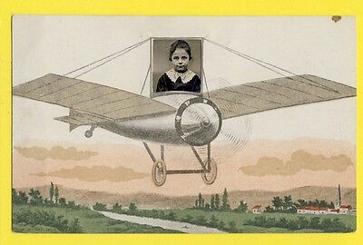 cpa CARTE PHOTO CARD Jeune Fille Young Girl FRANCE Old Postcard AVION AIRPLANE