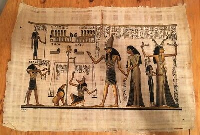 "Hand Painted Egyptian Art on Papyrus Paper Made In Egypt  24"" by 16"""