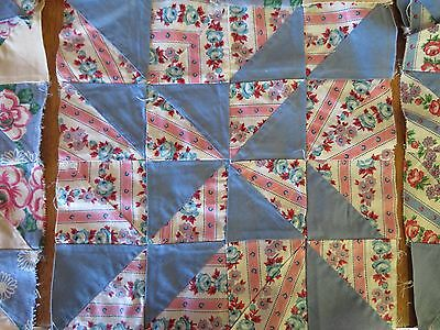 Lot Of 20 Vtg Quilt Top Blocks, Hand Pieced Blue Pink Roses Cotton Pinwheel