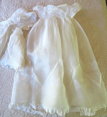 Vintage Lace Infant Baby / Doll Off White Christening Gown Dress & Bonnet,spain