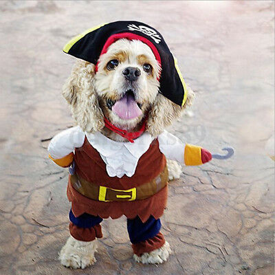 Pet Dog Costume Clothes with Hat Pirate Suit Unisex Halloween Dress up S/M/L/XL