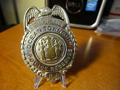Circa 1930s Obsolete Sergeant Police Reserves Ocean Township NJ Pin Badge #20