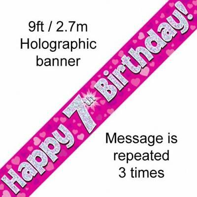 AGE 7 ' HAPPY BIRTHDAY ' PARTY  BANNER - HOLOGRAPHIC  -  7th  PINK GIRL - NEW