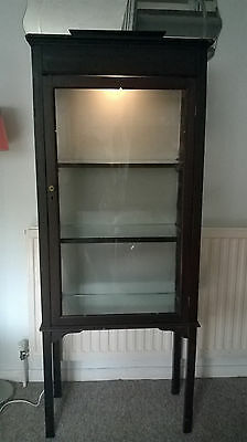 Antique Edwardian Wooden Glass Fronted Display Cabinet Mirrored Shelves & Light