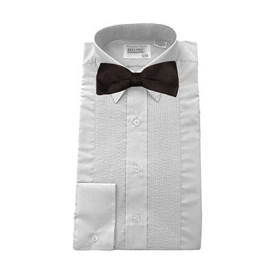 "Mens Tuxedo Shirt Lay Down Collar 1/8"" Pleats White NEW FREE BOW TIE"