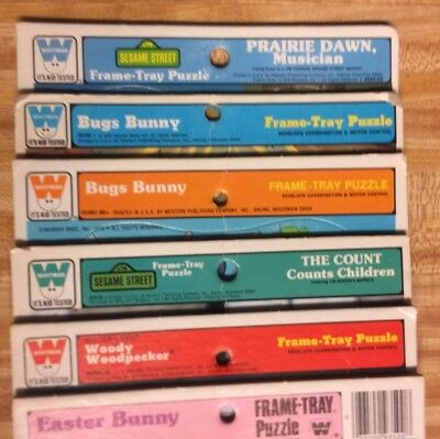 Whitman & Golden vintage Frame Tray Puzzle Lot of 6. Bugs Bunny, Sesame Street