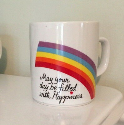 1984 Vintage Avon Rainbow May Your Day Be Filled with Happiness Mug -  Set of 4