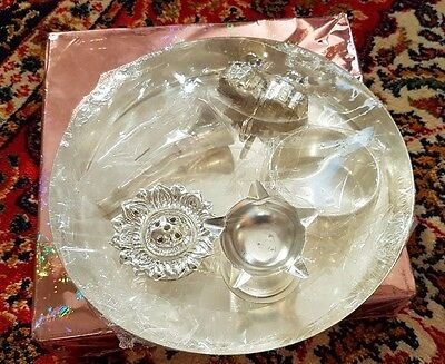 *SILVER PLATED PUJA THALI SET WITH 5 PUJA ITEMS- For PUJA's or Gift Happy Diwali