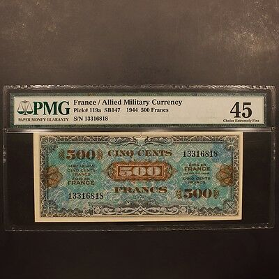 France 500 Francs 1944 P#119a Banknote PMG 45 - Choice Extremely Fine