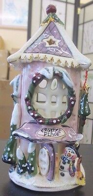 Blue Sky Clayworks Heather Goldminc Frosty's Place Xmas Tealight Candle House