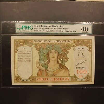 Tahiti 100 Francs ND(1963-65) P#14d Banknote PMG 40 - Extremely Fine