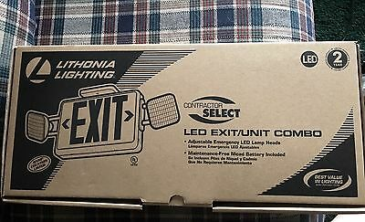[NEW] Lithonia Lighting LED Emergency Exit Sign/Fixture Unit Combo-red. Free sh