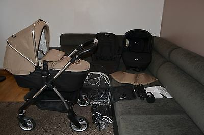 Full Travel System 3in1 Silver Cross Wayfarer Sand inc Car Seat and Raincover