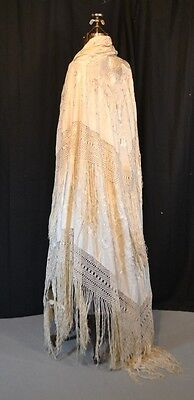shawl embroidered throw piano silk 62 in. lg white best antique