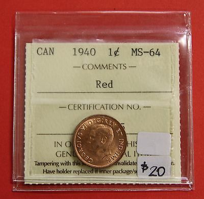 1940 Canada One Cent Penny Coin B313 - $20 ICCS MS-64 Red