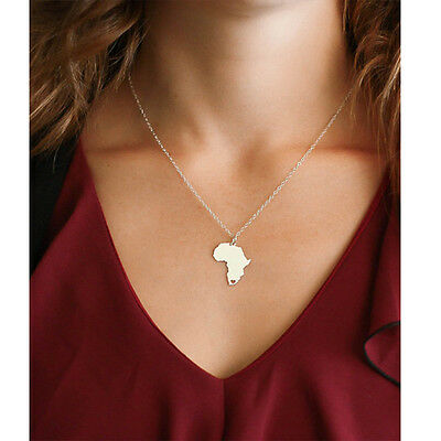 AFRICA MAP HEART PENDANT NECKLACE Chain Jewellery Gift Idea Travel Atlas African