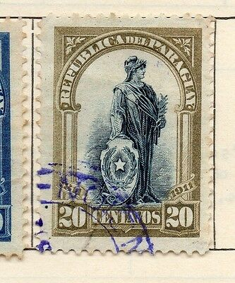 Paraguay 1911 Early Issue Fine Used 20c. 181460