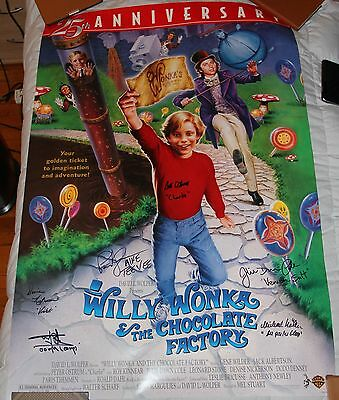 """27"""" X 40"""" Willy Wonka Poster Autographed By Six + Bonuses!!"""